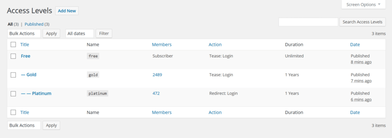 The membership WordPress plugin, Restrict Users Access, lets you make different member levels.